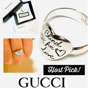 Gucci Blind for Love Ring in Sterling Silver NWT